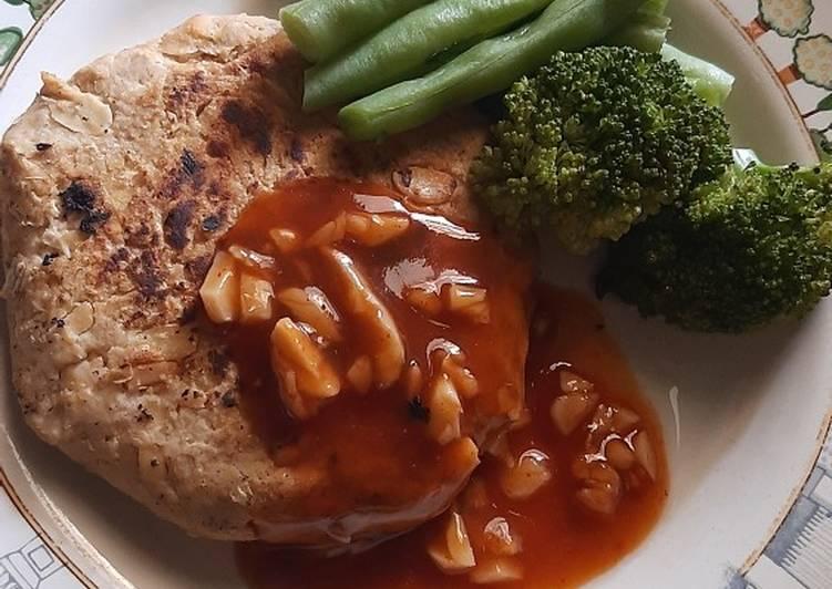 STEAK PATTY TEMPE w/ buncis dan brokoli || MENU DIET SEHAT