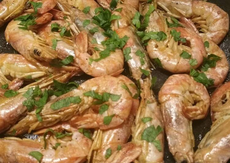 Recipe of Most Popular King prawns in a brandy and lemon sauce