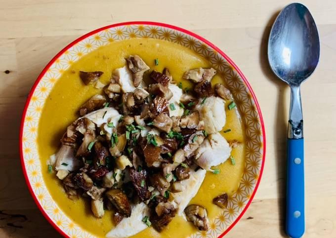 Soupe butternut châtaigne poulet