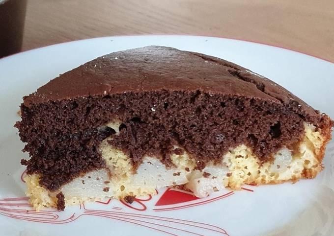 Moelleux marbré au chocolat et poire