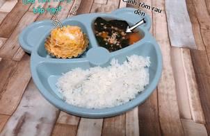 Ăn dặm - Thực đơn cơm 10 - Chả tôm trứng bắp ngọt & Canh tôm rau dền