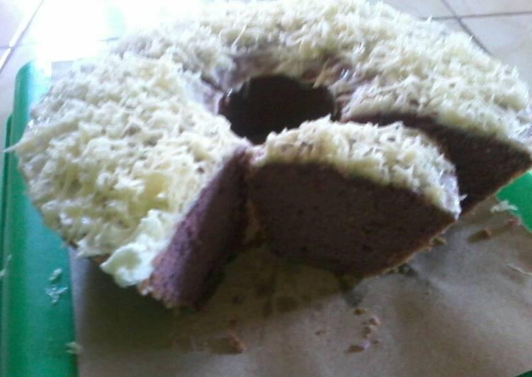 cara masak Bolu panggang ubi ungu tabur keju - Sajian Dapur Bunda