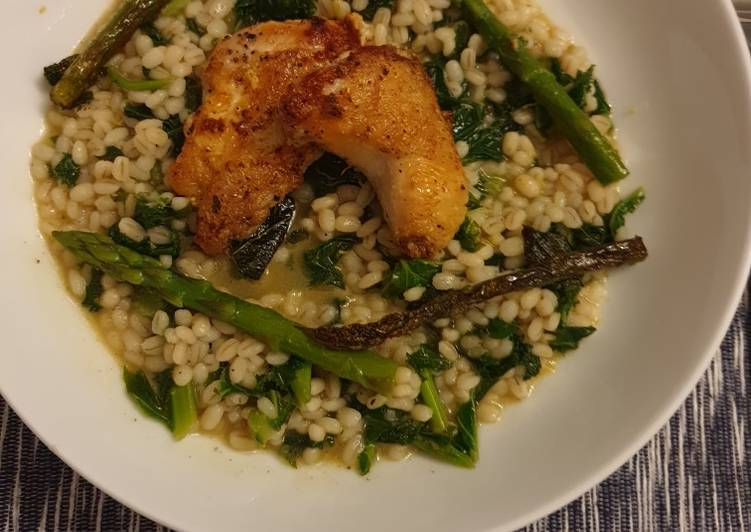 Simple Way to Make Ultimate Poussin pearl barley risotto with kale