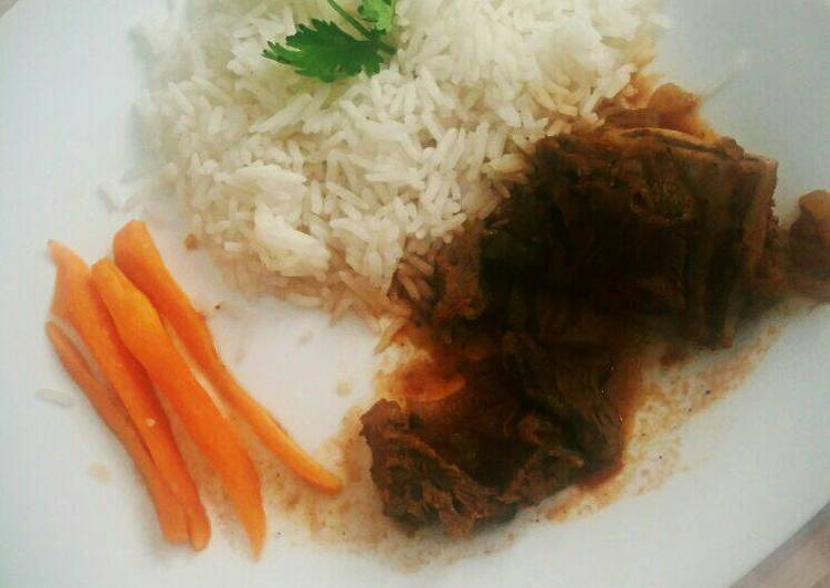 Step-by-Step Guide to Make Super Quick Homemade White rice and beef stew