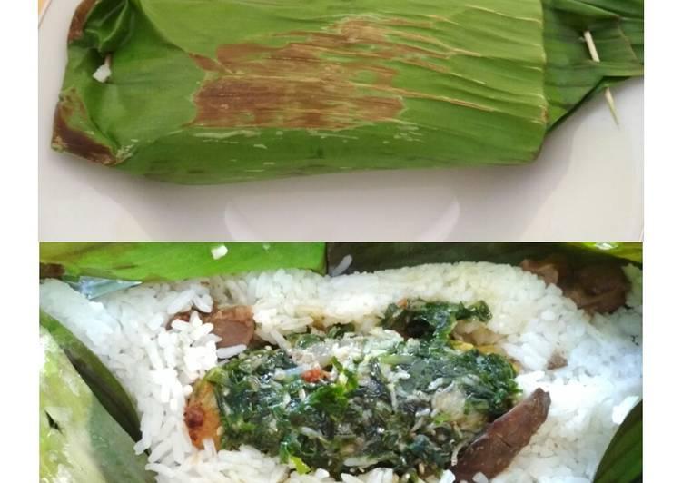 Nasi Bakar Ayam Dengan Sambal Daun Melinjo Mix Teri Asin Pedas