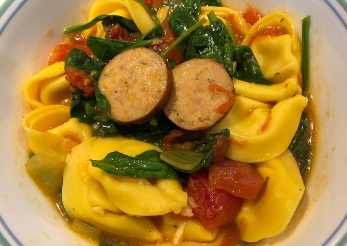 Spinach Tortellini Soup with Smoked Sausage
