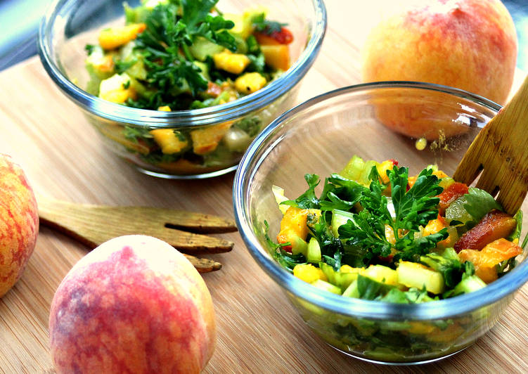 Steps to Prepare Quick 5-Ingredient Peach Parsley Celery Salad (Fat-Free)