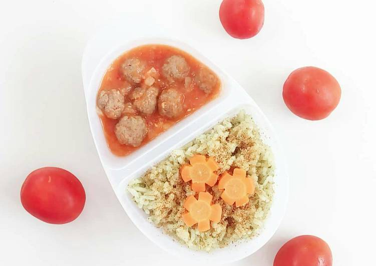 Nasi Hijau + Bola Bola Daging Saus Tomat - MPASI