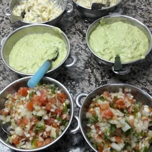 Salsas para tacos y patas flambeada