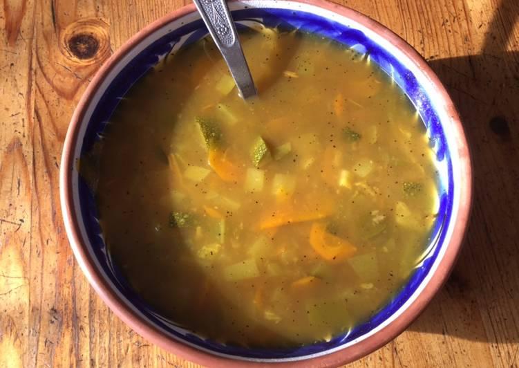 Recette Parfait Potage carottes poivrons courgettes au curry et citron confit