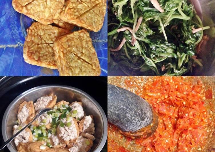 Menu Makan Siang Mudah (Tempe Goreng + Tumis Bayam Teri + Tahu sumpel Ayam + Sambal Bawang Extra Pedas
