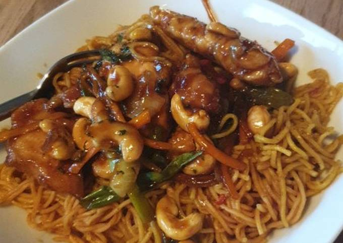 Honey Chilli Chicken with Curry Noodles