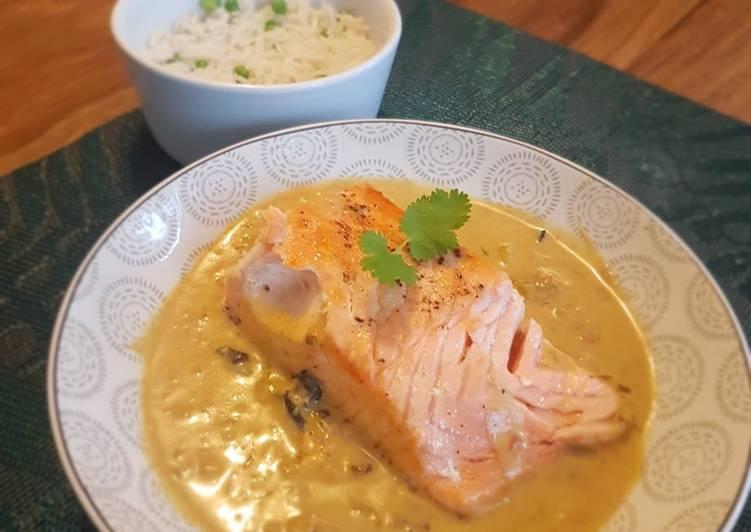Saumon et bouillon thaï au curry vert 🇹🇭