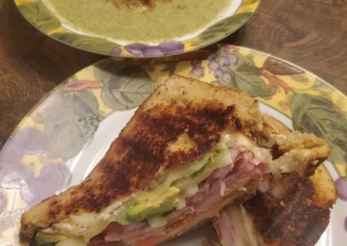 Brad's panini w/ cream of broccoli & turnip green soup