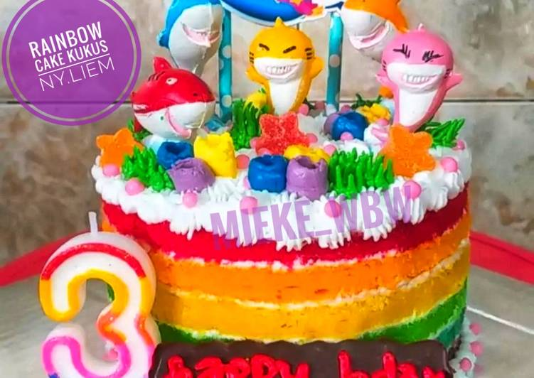 Resep Rainbow Cake Kukus Ny.Liem (Tart Ultah Tema Baby Shark) Top