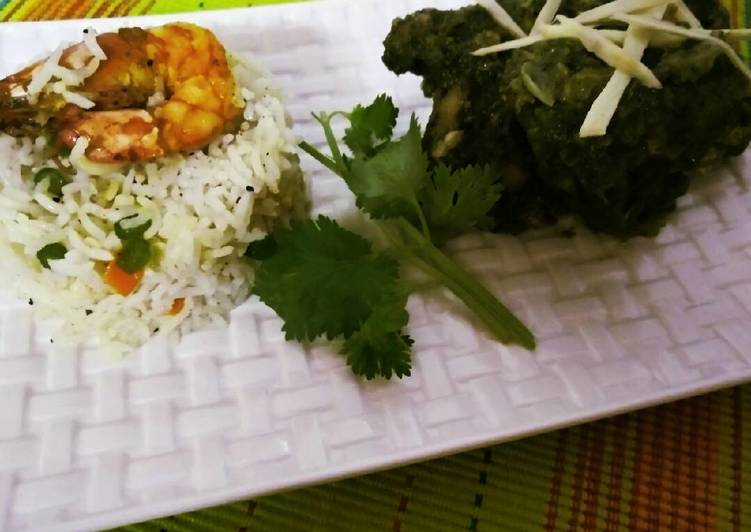 Prawn fried rice with coriander chicken