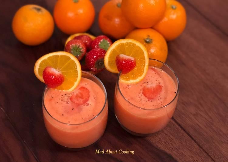 Steps to Prepare Quick Two Ingredient Smoothie – Strawberry Orange Juice Smoothie