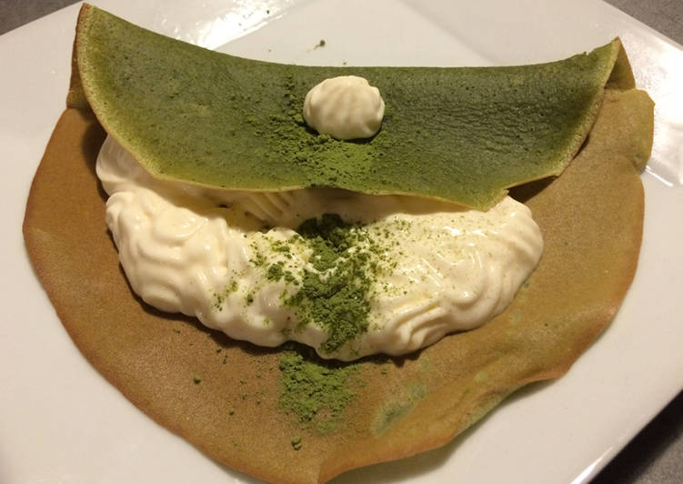 Crêpes au Matcha et crème mascarpone au Saké