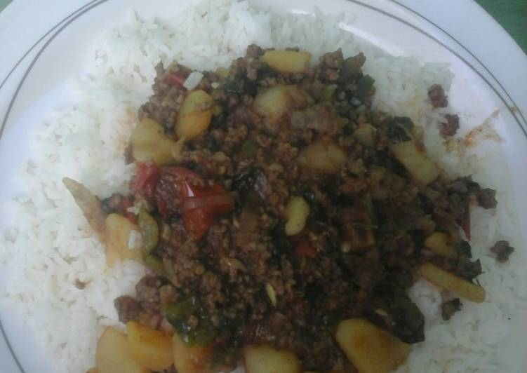 Fried rice and mince beef stew #localfoodcontest_Mombasa