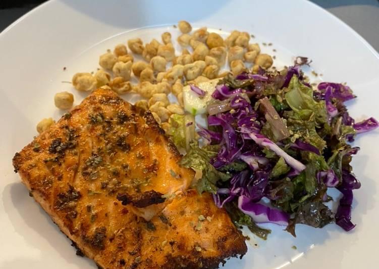 Grilled Salmon with Salad Sayur and Kacang Sukro Kribo