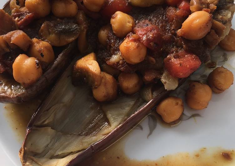 Recipe: Yummy Keto Friendly Eggplants with spicy chickpeas