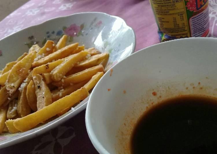 Kentang goreng krispy + saus