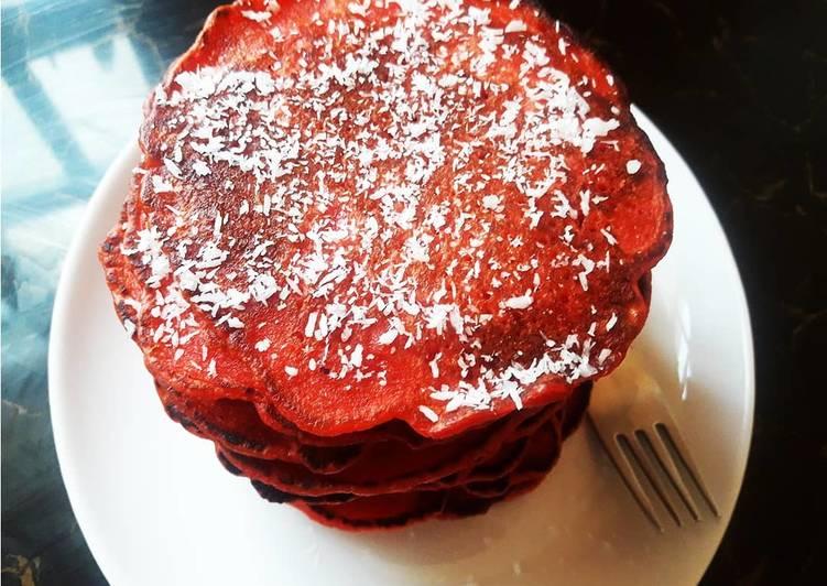 Apple Sauce Red Velvet Pancakes.#snacksrecipescontest