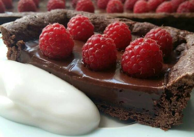 Recipe: Tasty Vickys Double Chocolate Raspberry Tart, GF DF EF SF NF VEGAN