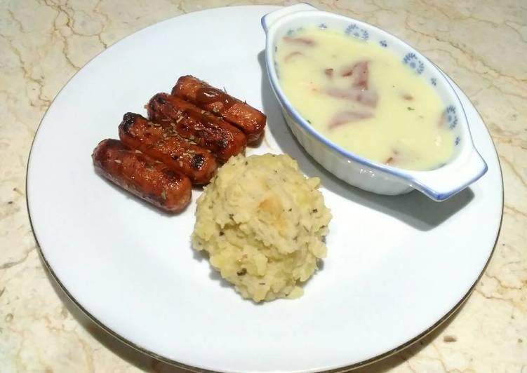 Mashed Potato, Grilled Sausage, and Chicken Soup Cream