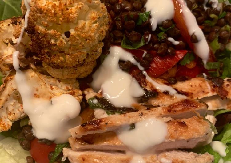 Easiest Way to Make Homemade Harissa spiced cauliflower with lemon and mint chicken and lentils