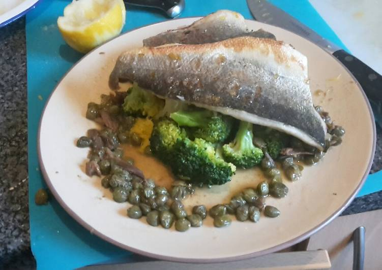 Steps to Prepare Super Quick Homemade Pan fried seabass fillets on a bed of citrus broccoli