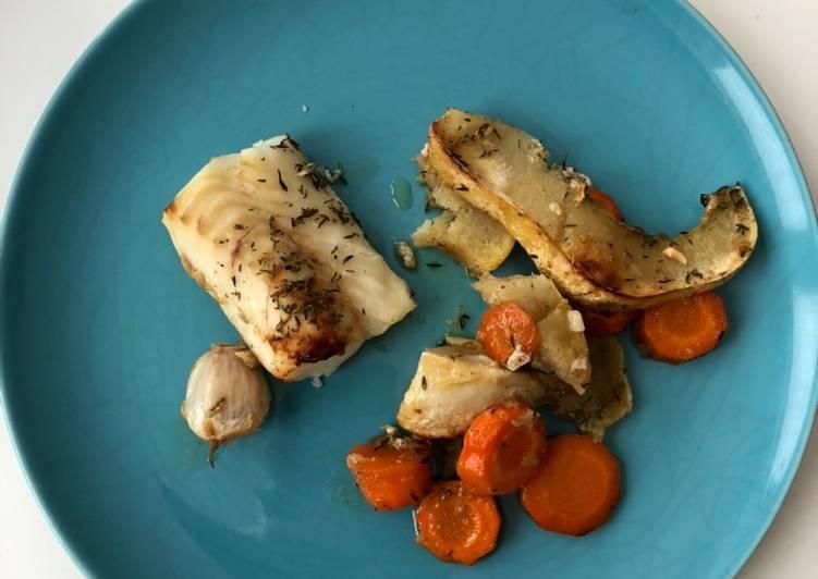 Comment Préparer Les Cabillaud, courge blanche et carottes rôtis au miel et thym
