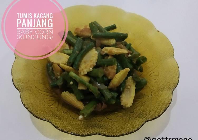 Tumis kacang panjang baby corn (kuncung)