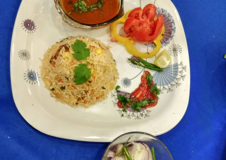 Paneer Tikka veg chilli garlic rice with Rajma