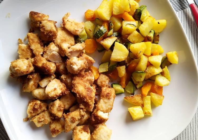 Bocconcini di pollo e verdure al forno