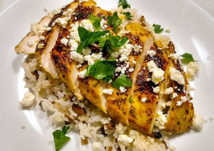 Pan-seared chicken with warm spices and feta
