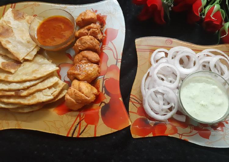 Chicken tikka with paratha and chutney