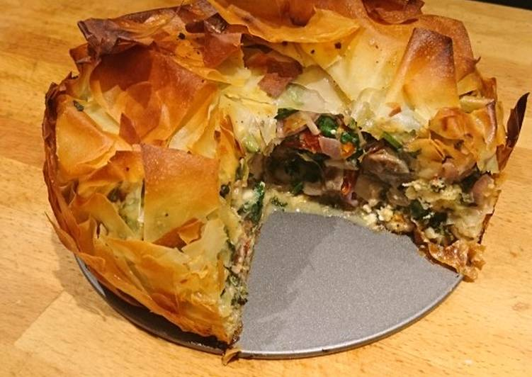 How to Prepare Favorite Spinach, feta, mushroom and filo pie