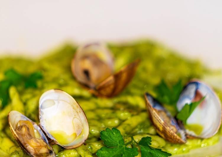 Easiest Way to Prepare Perfect Trofie Integrali Fresche alla Crema di Prezzemolo & Acciughe con Vongole Veraci
