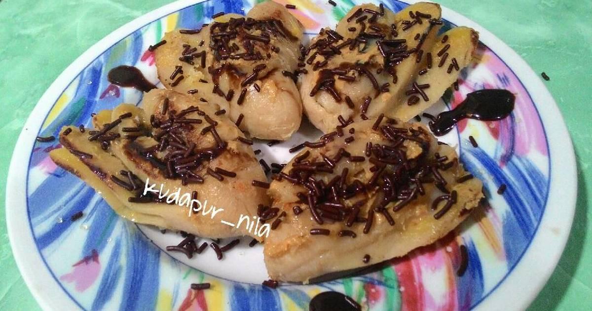 pisang rebus panggang coklat