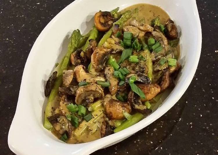 Recipe: Delicious Asparagus and Mushrooms with Lemon Butter Sauce