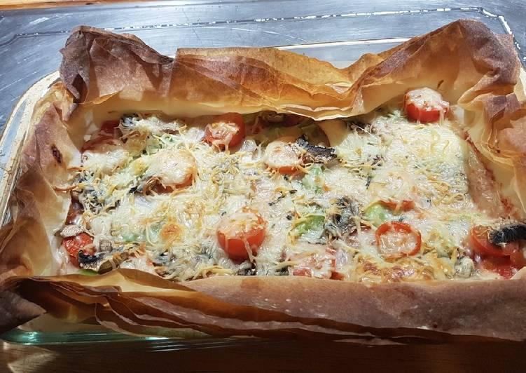 'Pizza' vegetariana con masa filo