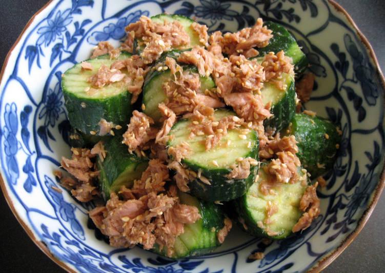 Recipe of Quick 'Goma-ae' Cucumber & Tuna