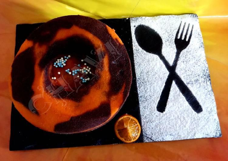 Eggless orange and chocolate cake