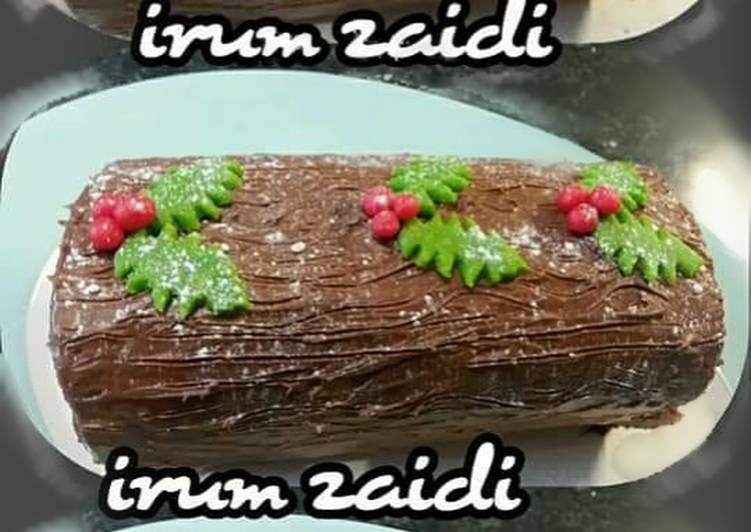 How to Make Super Quick Homemade 🎄�⛄�🎂�Yule Log or chocolate log �🎂� ⛄�🎄