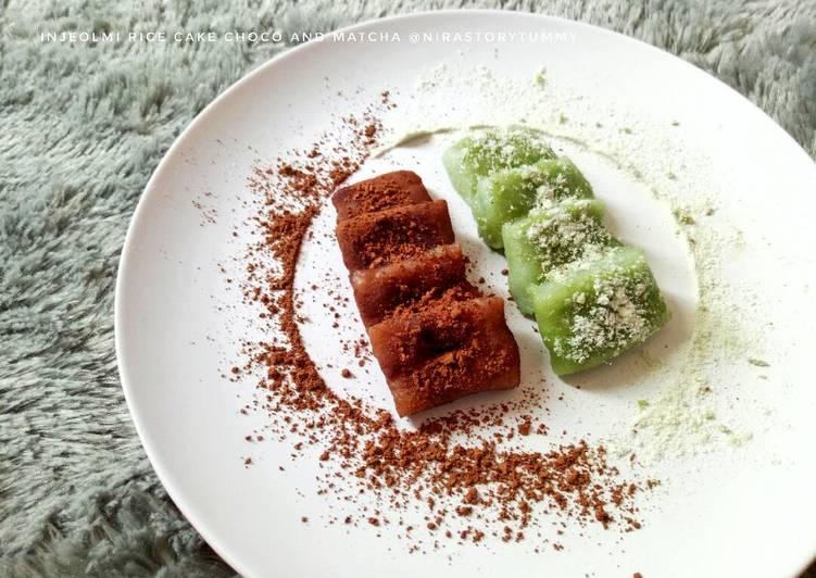 Injeolmi rice cake choco and matcha #pr_olahantepungberas