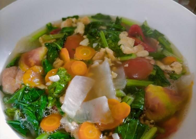 Sup capcay sayur ijo wortel lobak fresh