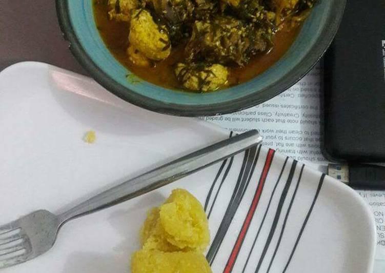 Ofe okazi with achara and egusi balls