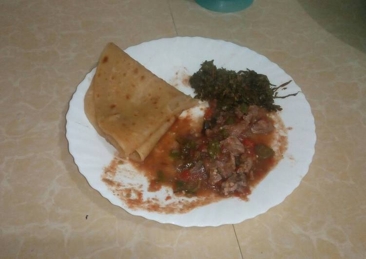 5 Minute Recipe of Royal Chapati & Beef (Wet Fry)