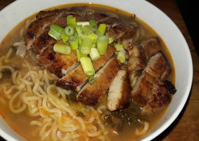 My super easy honey pork and sirracha ramen soup